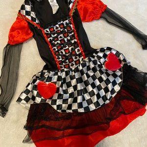 Alice in Wonderland Queen of Hearts Halloween Dress Costumer kids large 12-14